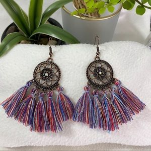 NEW Brass Tribe Pave Fringe Tassel Drop Earrings